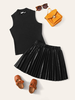 Girls Mock Neck Sleeveless Top & Pleated PU Leather Skirt Set