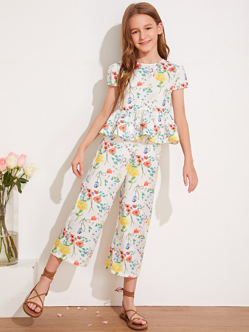 Girls Keyhole Back Floral Print Peplum Top & Cropped Pants Set