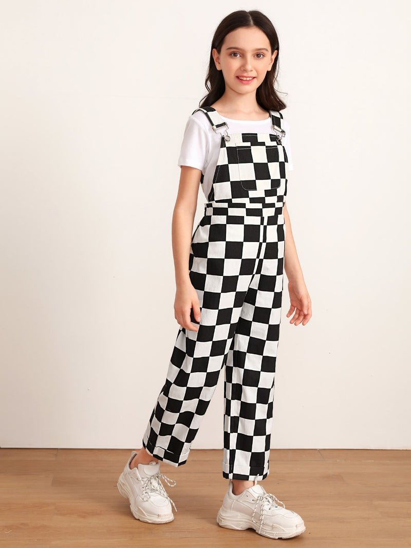 Girls Pocket Front Checked Pinafore Jumpsuit FD