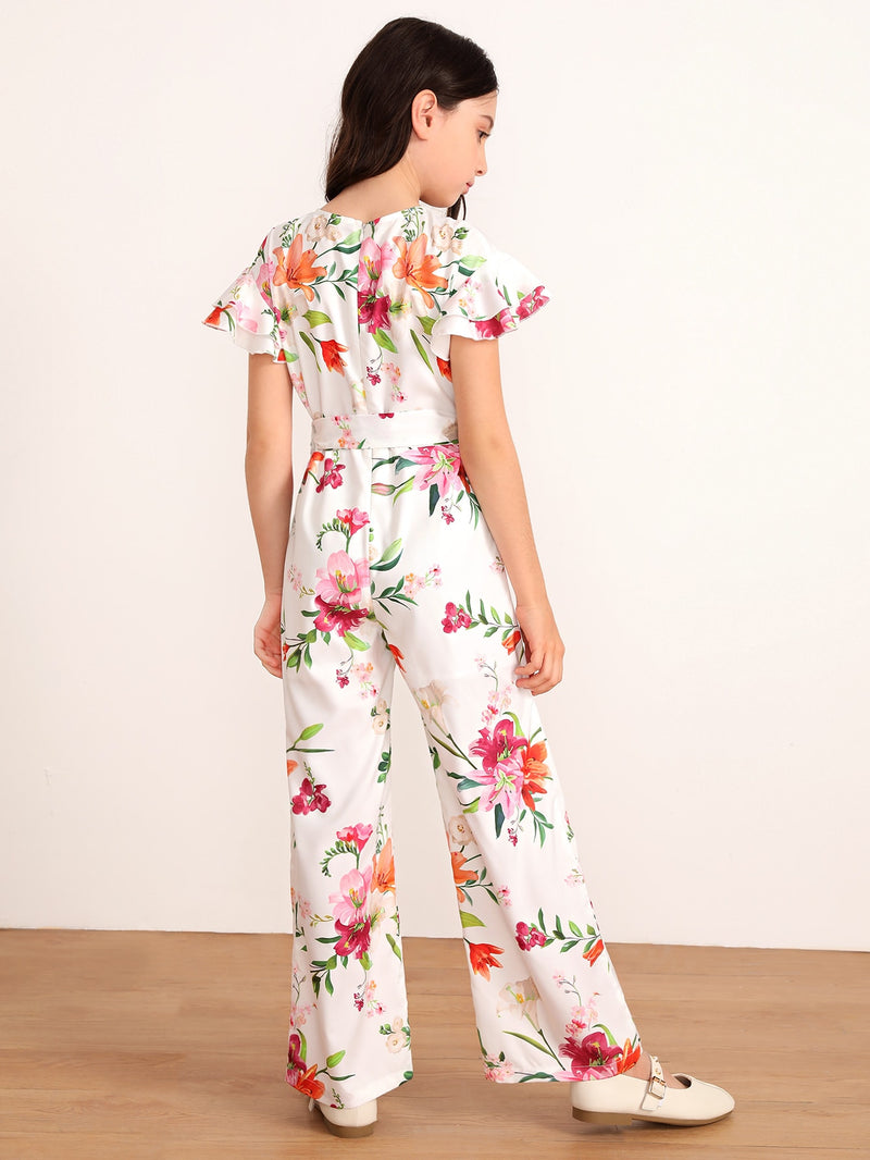 Girls Layered Flutter Sleeve Floral Print Belted Jumpsuit - FD