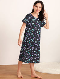 Girls Galaxy Print Night Dress