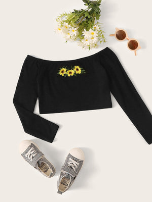 Girls Embroidered Floral Bardot Crop Tee