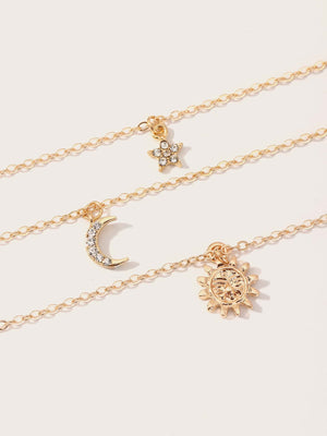 3pcs Toddler Girls Rhinestone Engraved Moon & Star Charm Necklaces