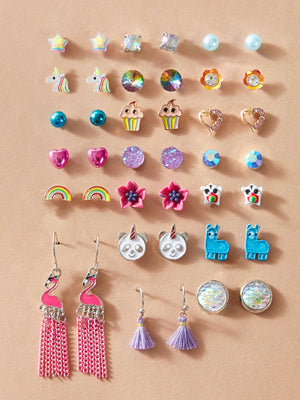 2opairs Girls Rainbow & Heart Earrings Set - FD