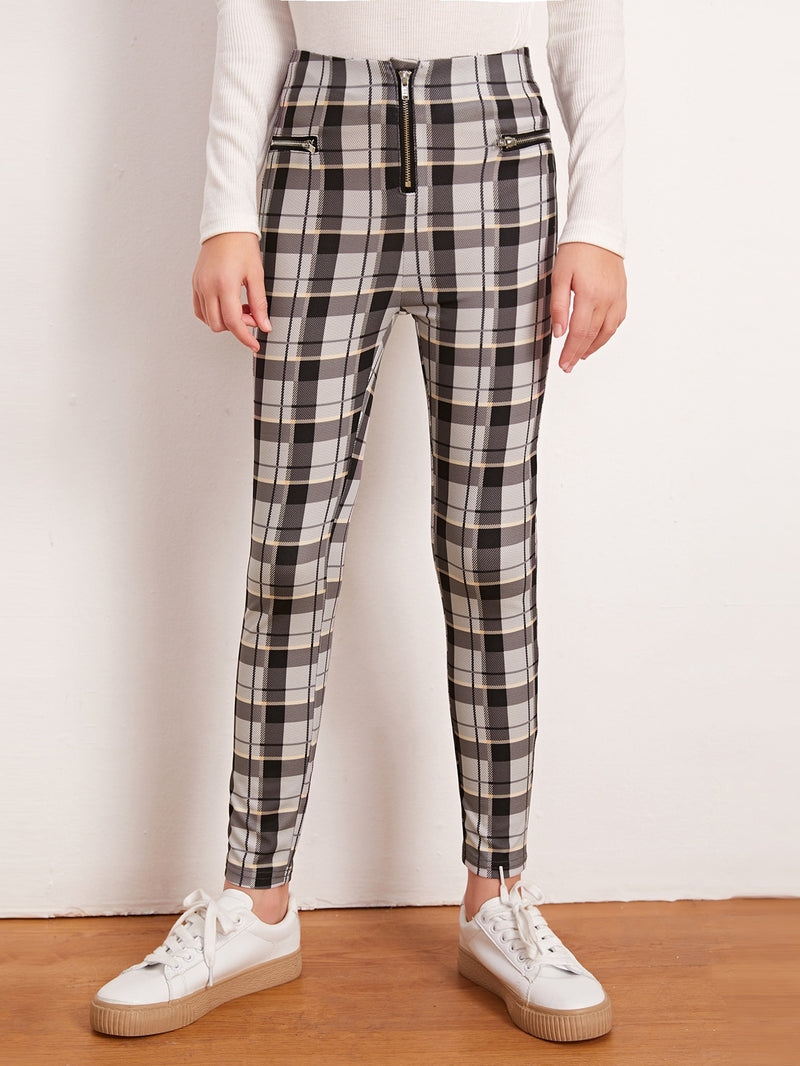 Girls Zip Fly Plaid Leggings - FD