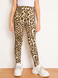 Girls Striped Tape Side Leopard Leggings