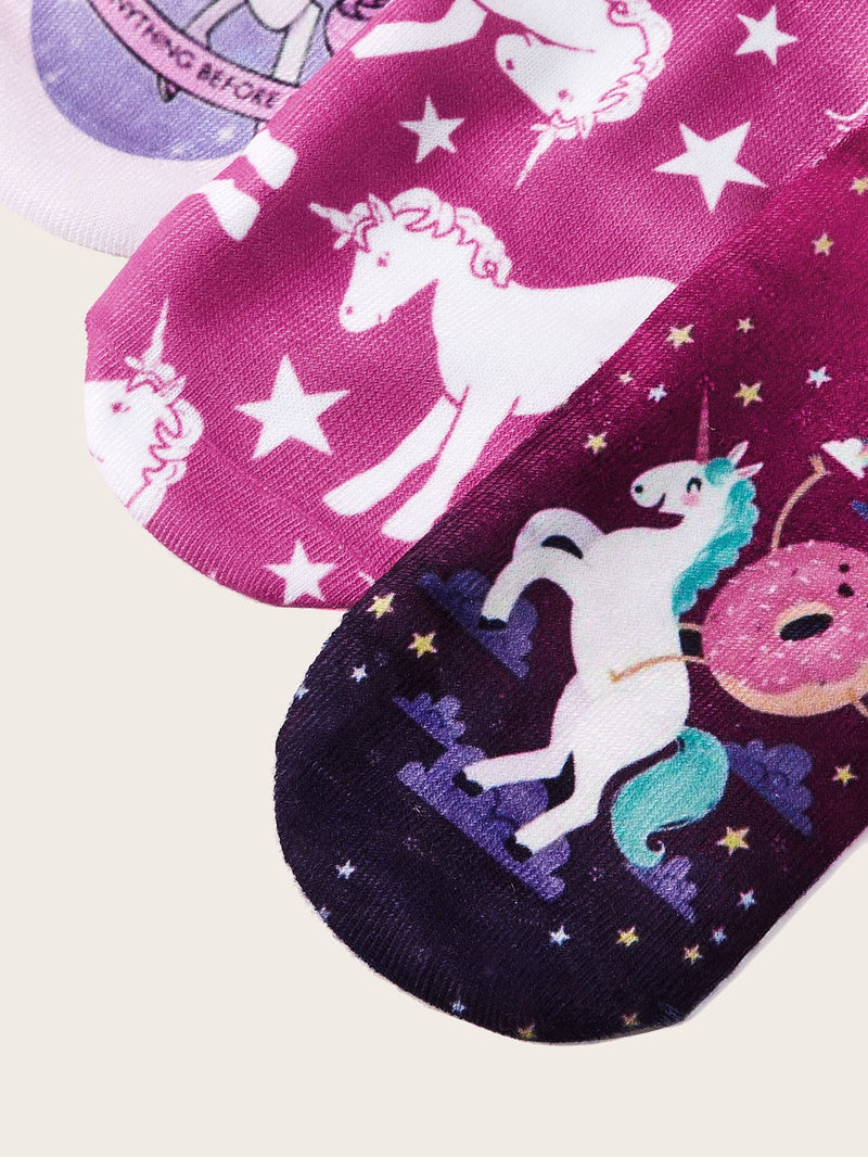 3pairs Girls Unicorn Pattern Socks