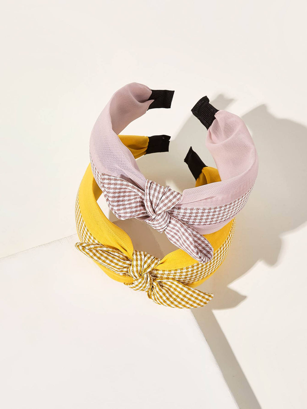 2pcs Girls Plaid Pattern Bow Knot Hair Hoop - FD