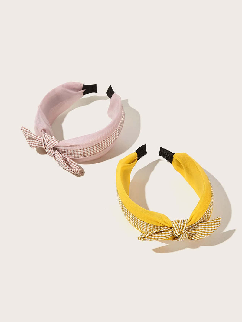 2pcs Girls Plaid Pattern Bow Knot Hair Hoop