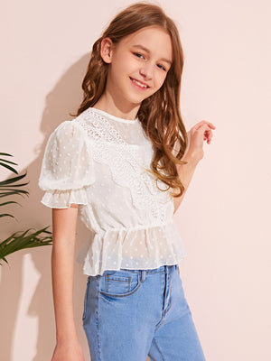 Girls Keyhole Back Lace Detail Ruffle Trim Chiffon Top