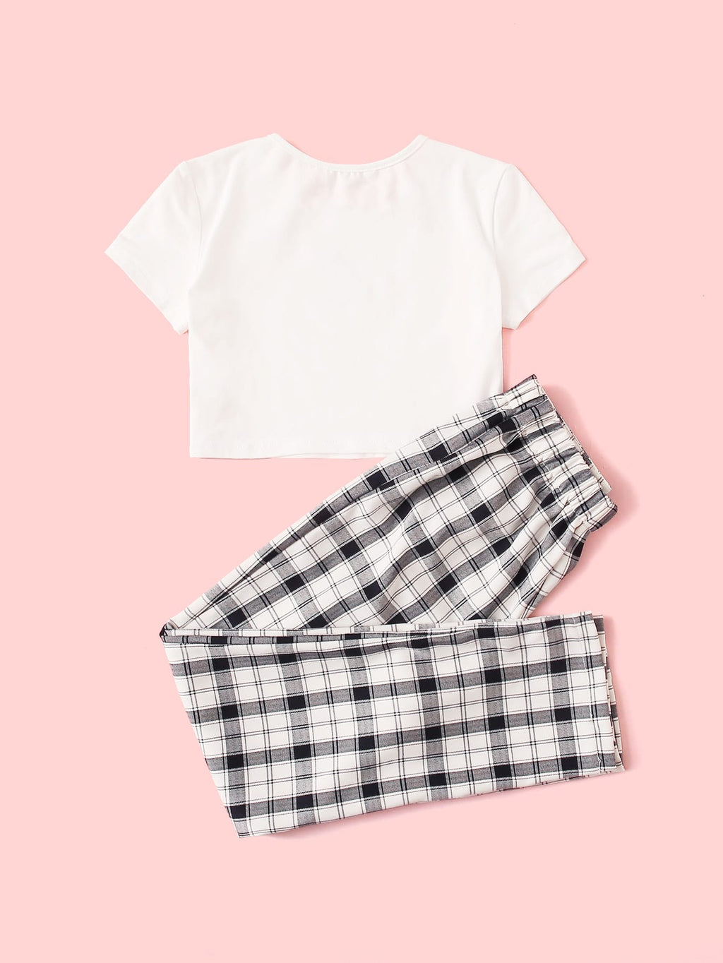 Girls Dragon Crop Tee and Plaid Pants Set