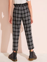 Girls Paperbag Waist Plaid Pants - FD