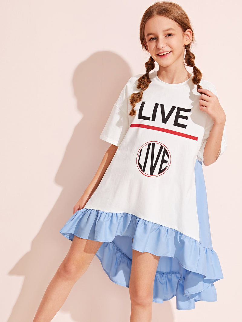 Girls High Low Ruffle Hem Letter Graphic Dress