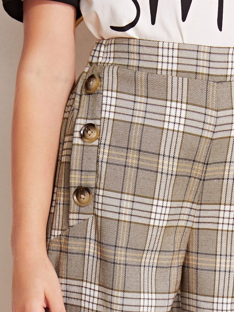 Girls Button Detail Plaid Palazzo Pants