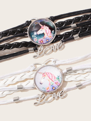 2pcs Toddler Kids Letter & Unicorn Decor Bracelet - FD