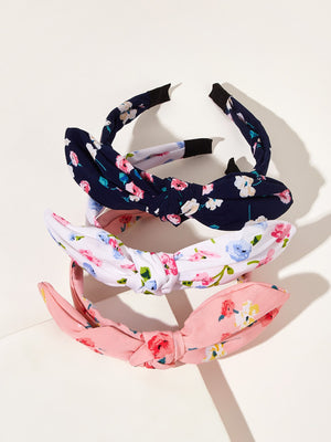 3pcs Toddler Girls Flower Pattern Bow Hair Hoop