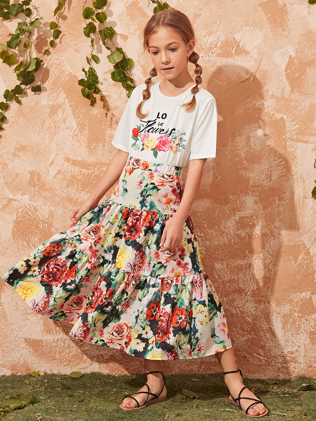 Girls Letter and Floral Tee and Flounce Hem Skirt Set