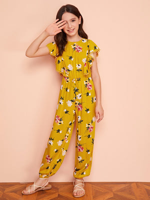 Girls Ruffle Trim Floral Print Jumpsuit