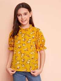 Girls Ruffle Trim Floral Print Top