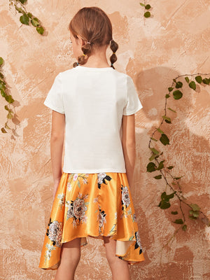 Girls Solid Top & Asymmetrical Hem Belted Floral Satin Skirt Set