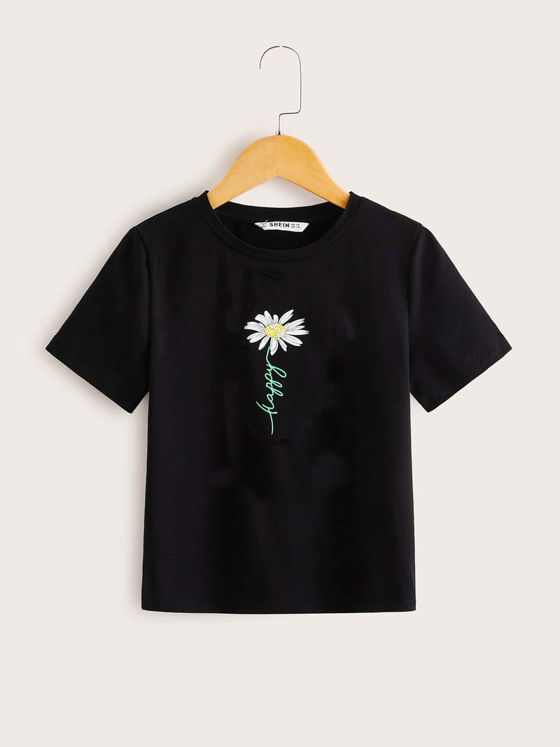 Girls Letter Graphic Floral Tee