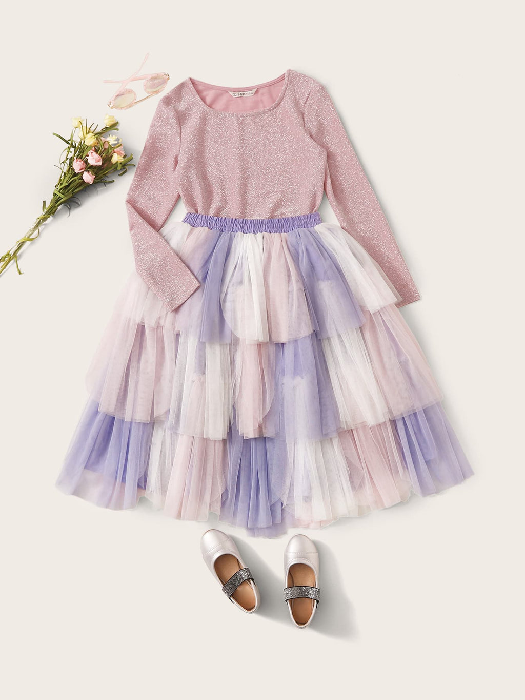 Girls Glitter Top and Layered Mesh Colorblock Skirt Set