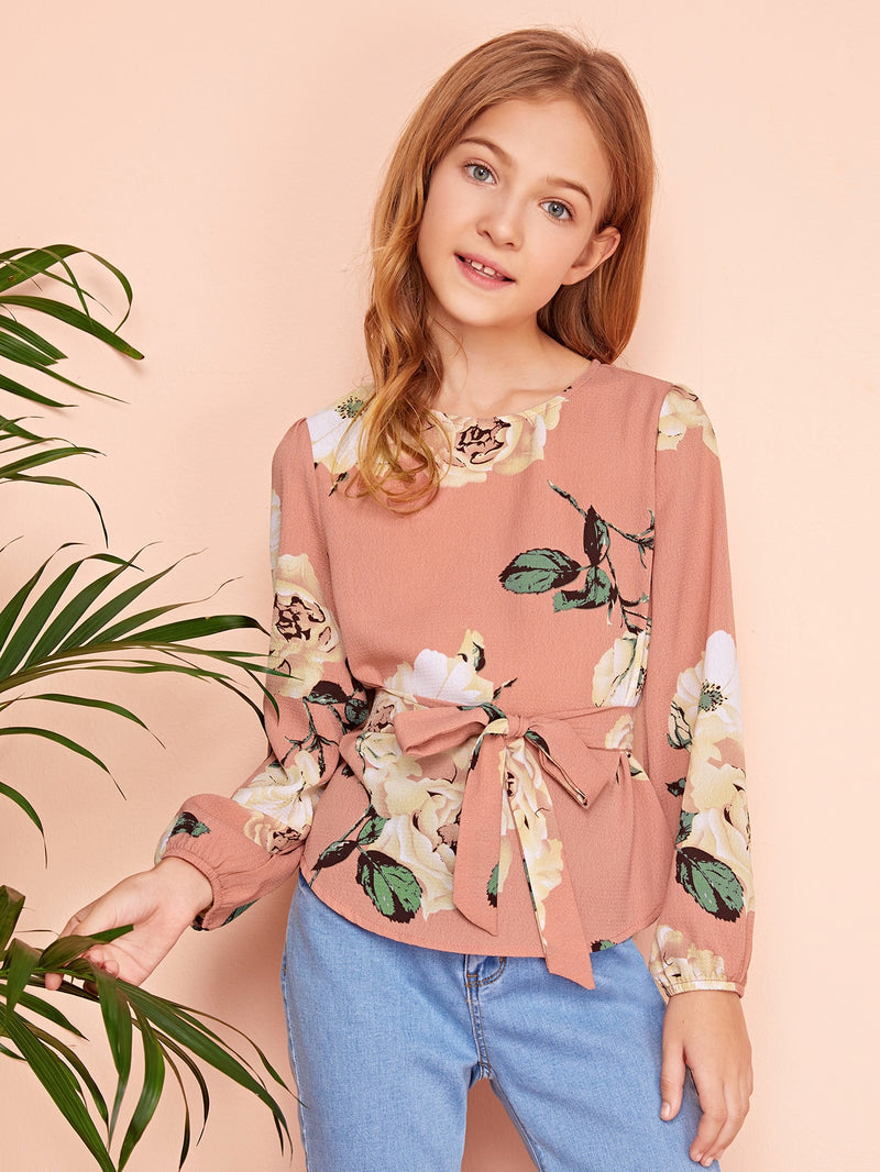 Girls Floral Print Belted Top - FD