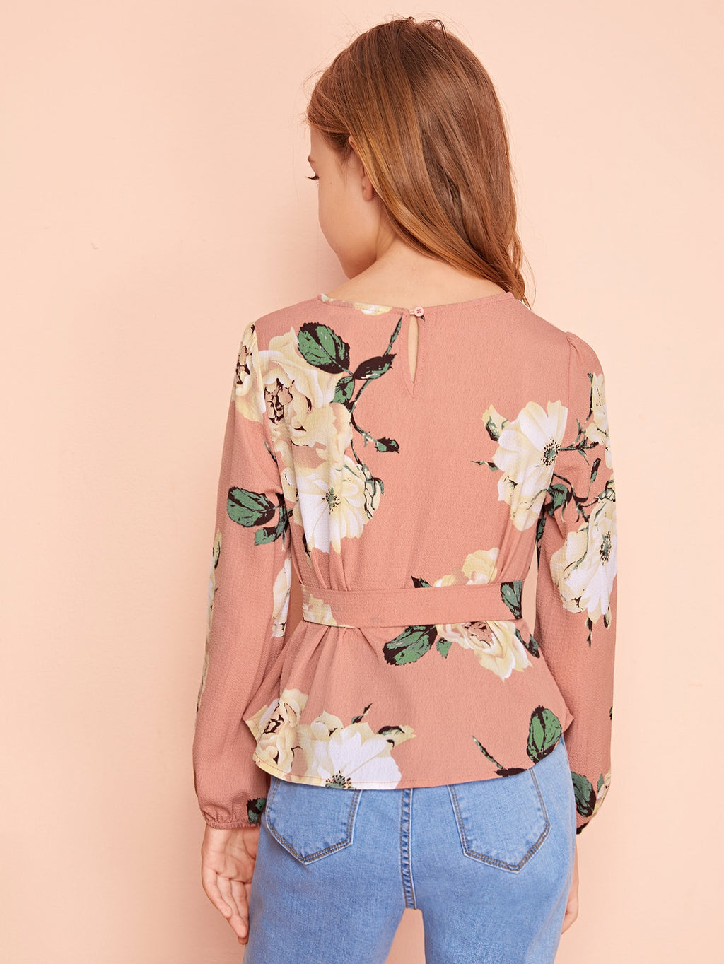 Girls Floral Print Belted Top