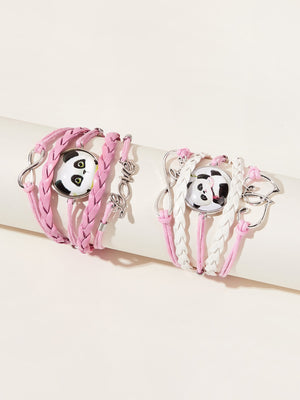 2pcs Toddler Girls Panda Decor Braided Bracelet
