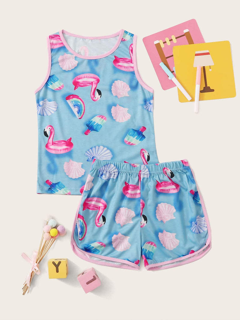 Girls Flamingo And Shell Print Pajama Set - FD