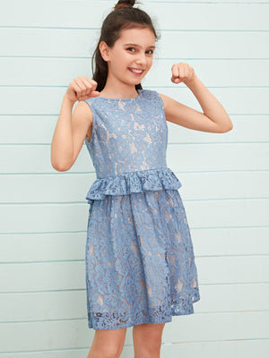 Girls Bow Back Ruffle Trim Lace Dress
