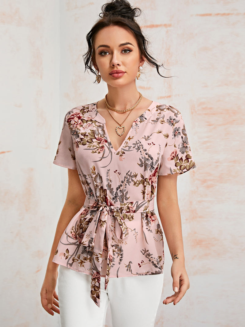 Notched Neck Self Belted Floral Top