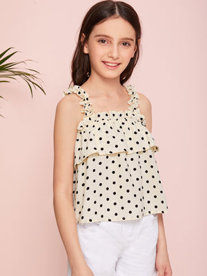 Girls Frill Strap Two Layer Polka-dot Top