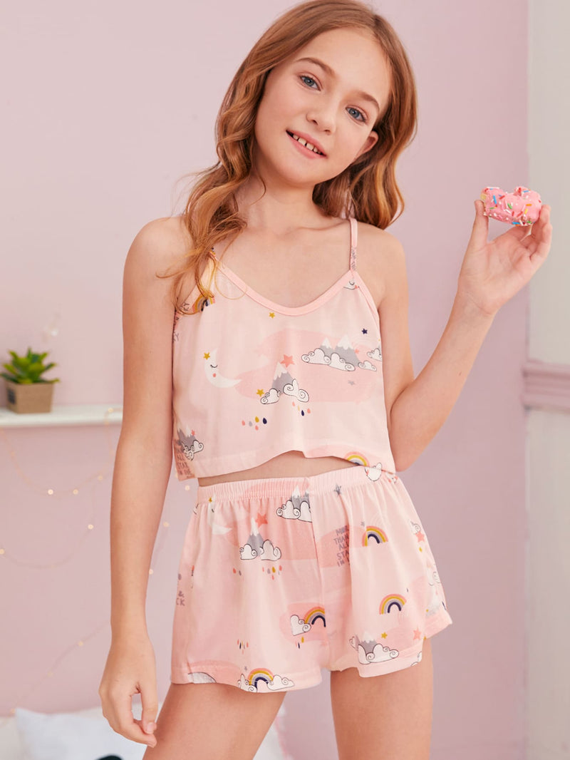 Girls Cartoon Graphic Cami PJ Set & Eye Mask - FD