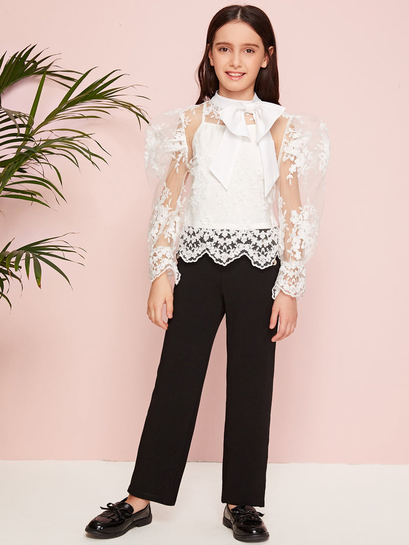 Girls Bow Detail Embroidery Mesh Sheer Top Without Cami - FD