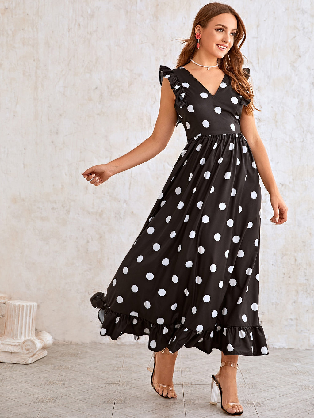 Double V-neck Ruffle Armhole Polka Dot Dress