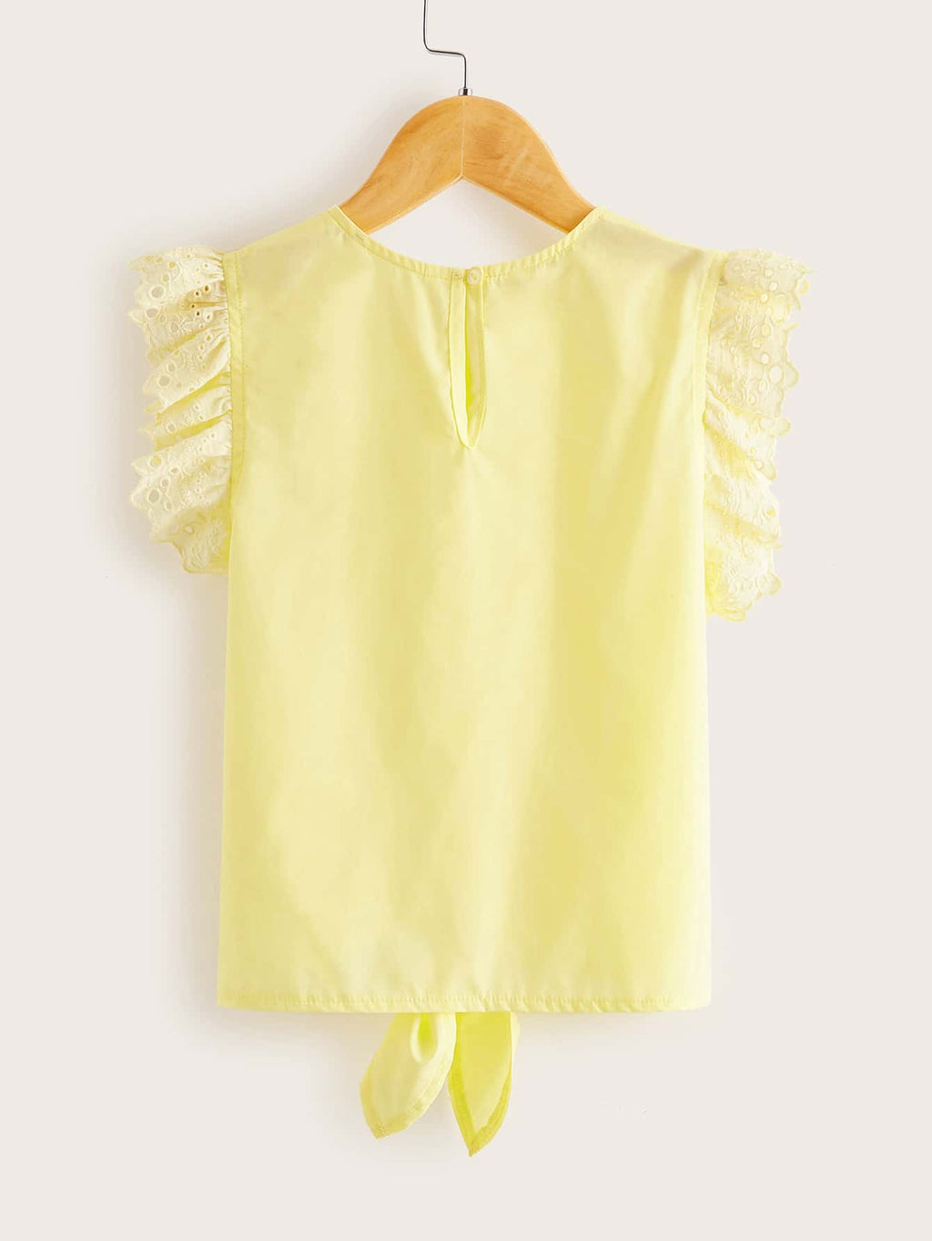Girls Eyelet Embroidered Ruffle Armhole Tie Hem Top