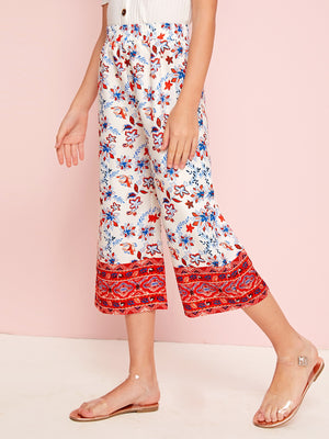 Girls Wide Waistband Tribal & Floral Pants