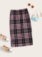 Girls Plaid Pencil Skirt