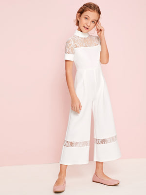 Girls Sheer Lace Insert Culotte Jumpsuit