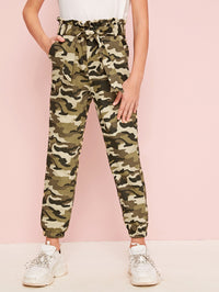 Girls Paperbag Waist Belted Camo Pants