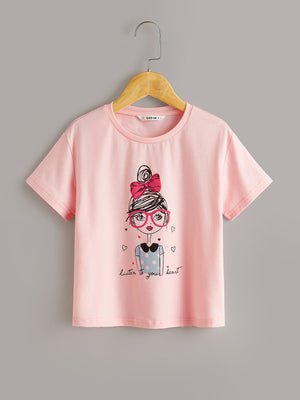 Girls Slogan and Figure Graphic Top