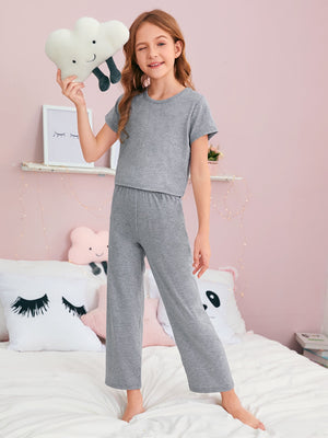 Girls Solid Tee & Pants PJ Set