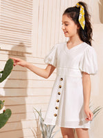Girls Puff Sleeve Eyelet Lace Insert Buttoned Front Dress