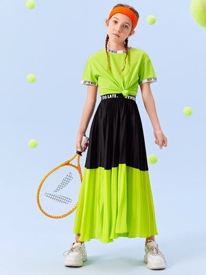 Girls Slogan Graphic Waist Colorblock Pleated Skirt FD