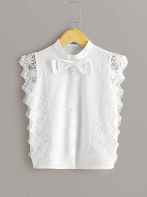 Girls Bow Front Lace Trim Blouse