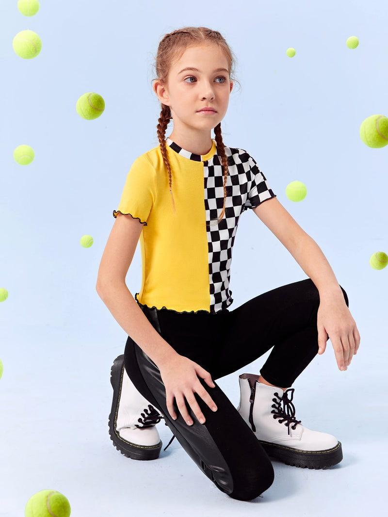 Girls Lettuce Trim Checker Spliced Top