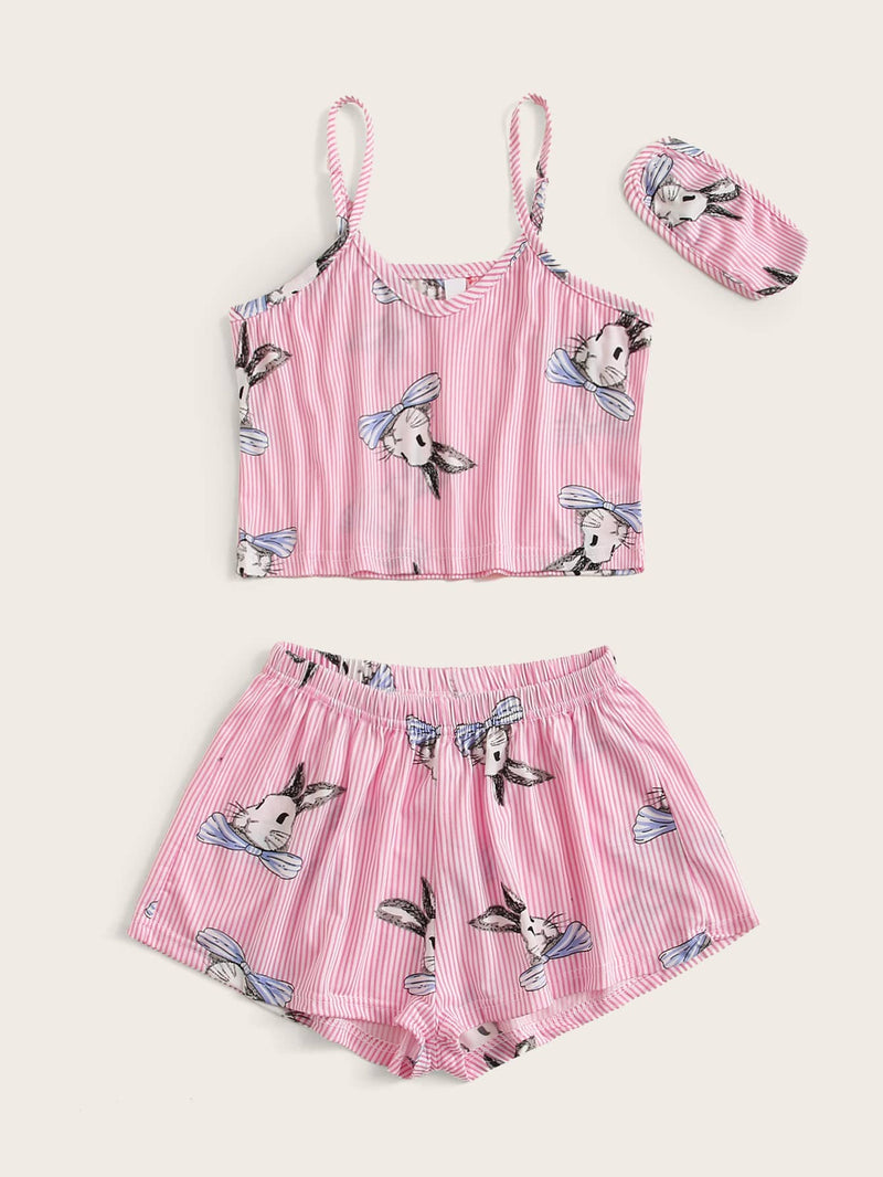 Girls Striped And Rabbit Print Cami PJ Set & Eye Mask
