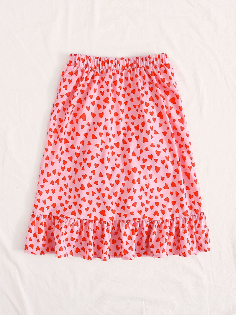 Girls Ruffle Trim Wrap Tie Side Heart Print Skirt
