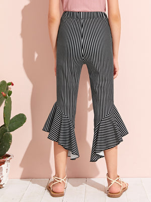 Girls Asymmetrical Ruffle Hem Striped Flare Leg Pants